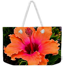 Orange And Pink Hibiscus 2 Weekender Tote Bag by Pamela Walton