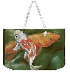 Orange And White Koi With Mossy Stones Weekender Tote Bag by MM Anderson