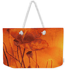 Weekender Tote Bag featuring the digital art Orange And Yellow Poppies by Fine Art By Andrew David