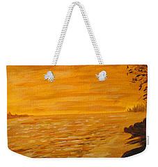 Weekender Tote Bag featuring the painting Orange Beach by Ian  MacDonald