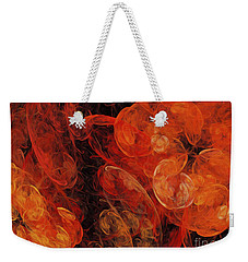 Weekender Tote Bag featuring the digital art Orange Blossom Abstract by Andee Design