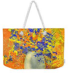 Orange, Blue, And Gold Sparkling Bouquet Weekender Tote Bag