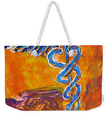 Orange Blue Purple Medical Caduceus Thats Atmospheric And Rising With Mystery Weekender Tote Bag