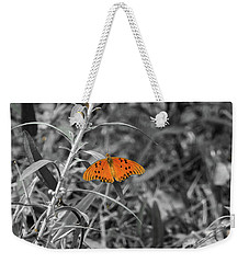 Orange Butterfly In Black And White Background Weekender Tote Bag