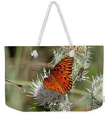 Orange Butterfly Weekender Tote Bag