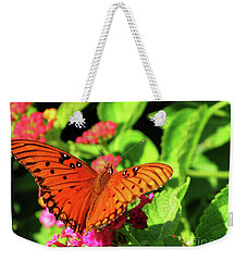 Orange Butterfy On Green Leaves And Pink Flowers Weekender Tote Bag