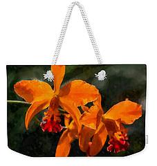 Orange Cattleya Orchid Weekender Tote Bag