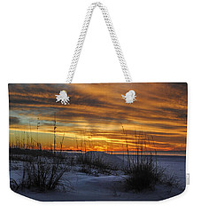 Orange Clouded Sunrise Over The Pier Weekender Tote Bag
