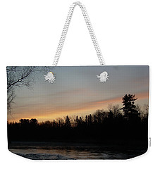 Weekender Tote Bag featuring the photograph Orange Clouds Mississippi River Dawn by Kent Lorentzen