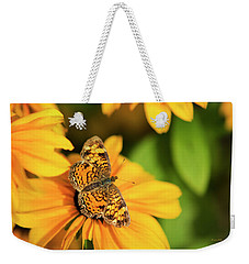 Weekender Tote Bag featuring the photograph Orange Crescent Butterfly by Christina Rollo