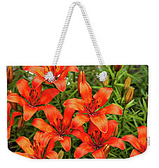 Weekender Tote Bag featuring the photograph Orange Day Lillies by Mary Jo Allen
