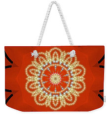 Orange Desert Flower Kaleidoscope Weekender Tote Bag by Roxy Riou