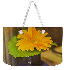 Orange Flowers Blue Vase Weekender Tote Bag