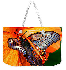 Orange Hibiscus Butterfly Weekender Tote Bag by ABeautifulSky Photography