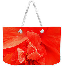 Weekender Tote Bag featuring the photograph Orange Hibiscus by Cathy Donohoue