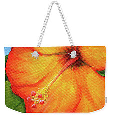 Orange Hibiscus Flower Weekender Tote Bag