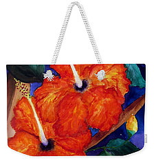 Weekender Tote Bag featuring the painting Orange Hibiscus by Lil Taylor