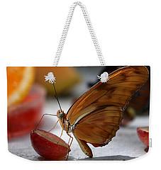 Orange Julia Butterfly Weekender Tote Bag