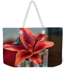 Weekender Tote Bag featuring the photograph Orange Lilly And Her Companion Abstract by Diana Mary Sharpton