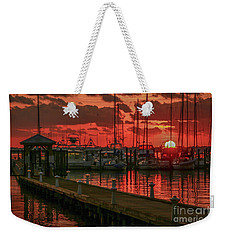 Orange Marina Sunrise Weekender Tote Bag