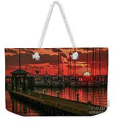 Orange Marina Sunrise Weekender Tote Bag by Tom Claud