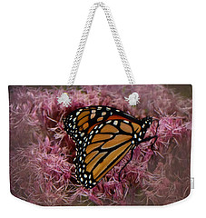 Weekender Tote Bag featuring the photograph Orange Monarch by Judy Hall-Folde