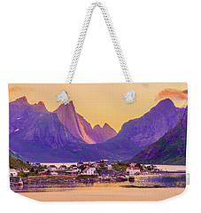Weekender Tote Bag featuring the photograph Orange Night In A Harbour by Dmytro Korol