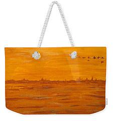 Weekender Tote Bag featuring the painting Orange Ocean by Ian  MacDonald
