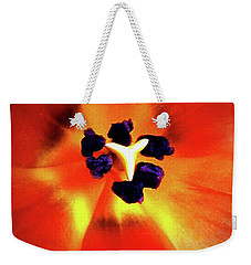 Weekender Tote Bag featuring the photograph Orange Orchid by Kelly Mills