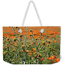 Weekender Tote Bag featuring the mixed media Orange Poppies And Fiddleneck- Art By Linda Woods by Linda Woods