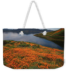 Weekender Tote Bag featuring the photograph Orange Poppy Fields At Diamond Lake In California by Jetson Nguyen