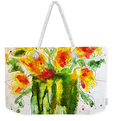 Weekender Tote Bag featuring the painting Orange Splendor by Claire Bull