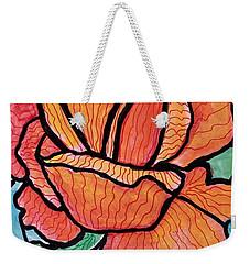 Orange Stained Glass Rose Weekender Tote Bag