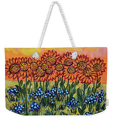 Orange Sunset Flowers Weekender Tote Bag