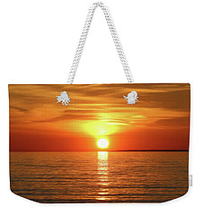 Weekender Tote Bag featuring the photograph Orange Sunset Lake Superior by Paula Brown