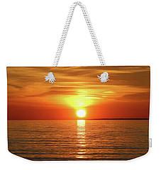 Orange Sunset Lake Superior Weekender Tote Bag