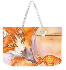 Orange Tabby With Goldfish Weekender Tote Bag