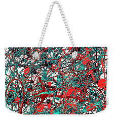 Weekender Tote Bag featuring the painting Orange Turquoise Drip Abstract by Genevieve Esson