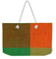 Orange With Brown And Teal Weekender Tote Bag by Michelle Calkins