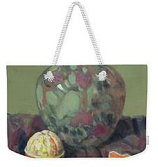 Oranges And Floral Porcelain Vase Weekender Tote Bag