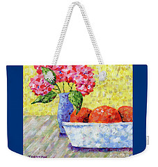 Oranges In Bowl With Flowers Weekender Tote Bag