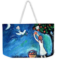 Weekender Tote Bag featuring the painting Oranges Song by Winsome Gunning