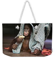 Orangutan 2yr Old Infant Holding Banana Weekender Tote Bag by Suzi Eszterhas