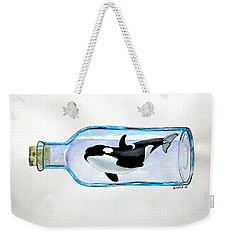 Weekender Tote Bag featuring the painting Orca by Edwin Alverio