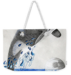 Weekender Tote Bag featuring the drawing Orca by Mayhem Mediums