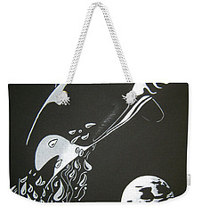Weekender Tote Bag featuring the drawing Orca Sillhouette by Mayhem Mediums