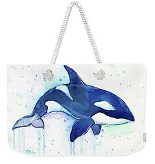 Orca Whale Watercolor Killer Whale Facing Right Weekender Tote Bag