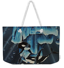 Weekender Tote Bag featuring the painting Orcas Versus Glacier by Dianna Lewis