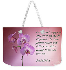 Orchid In The Pink Psalms 71 Weekender Tote Bag by Linda Phelps