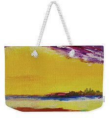 Weekender Tote Bag featuring the painting Orchid Sky by Robin Maria Pedrero
